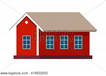 Red Country House Exterior As Rural Landscape Element Vector Illustration