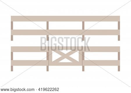 Fence Or Hedge As Agricultural And Farming Construction For Separation Vector Illustration