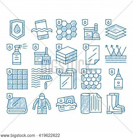 Waterproof Materials Sketch Icon Vector. Hand Drawn Blue Doodle Line Art Waterproof Material For Per