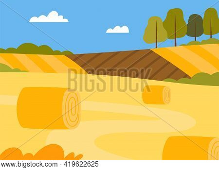 Country View With Hay Stacks On Field And Pasture Land As Green Landscape Vector Illustration
