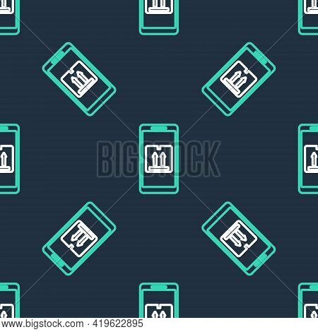Line Mobile Smart Phone With App Delivery Tracking Icon Isolated Seamless Pattern On Black Backgroun