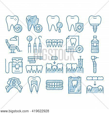 Stomatology Sketch Icon Vector. Hand Drawn Blue Doodle Line Art Stomatology Dentist Equipment And Ch