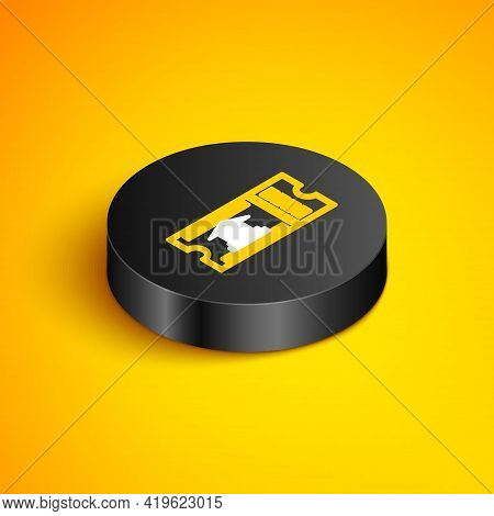 Isometric Line Museum Ticket Icon Isolated On Yellow Background. History Museum Ticket Coupon Event