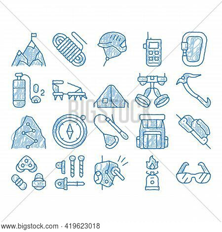 Alpinism Elements Sketch Icon Vector. Hand Drawn Blue Doodle Line Art Compass And Glasses, Mountain