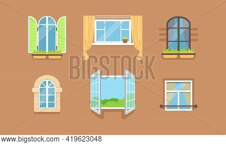 Different Framed Windows On Wall As Building Exterior Element Vector Set