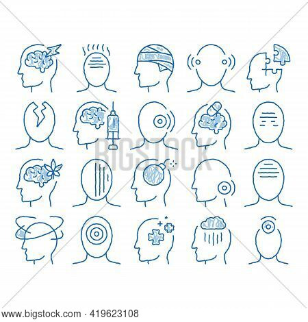 Headache Elements Sketch Icon Vector. Hand Drawn Blue Doodle Line Art Tension And Cluster Headache,