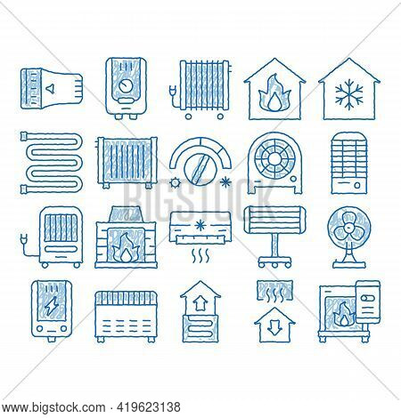 Heating And Cooling Sketch Icon Vector. Hand Drawn Blue Doodle Line Art Cool And Humidity, Airing, I