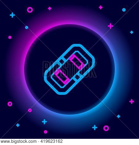 Glowing Neon Line Rafting Boat Icon Isolated On Black Background. Inflatable Boat. Water Sports, Ext