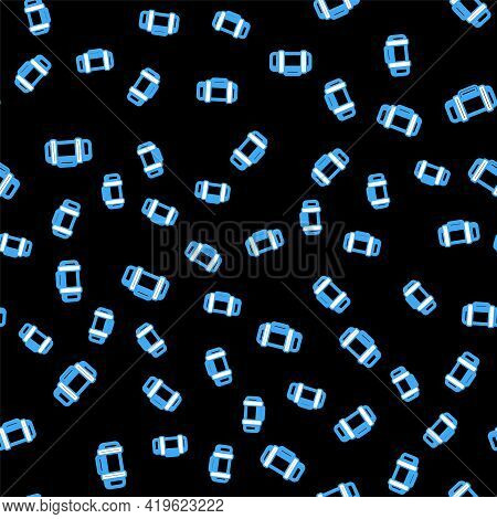 Line Thermos Container Icon Isolated Seamless Pattern On Black Background. Thermo Flask Icon. Campin