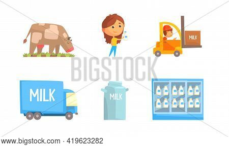 Milk Production With Cow Grazing On The Field And Merchandise Shelf With Dairy Product Vector Set
