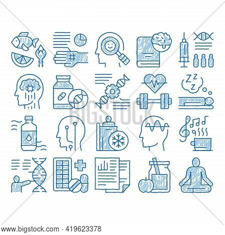 Biohacking Elements Sketch Icon Vector. Hand Drawn Blue Doodle Line Art Meditation And Brain, Dna An