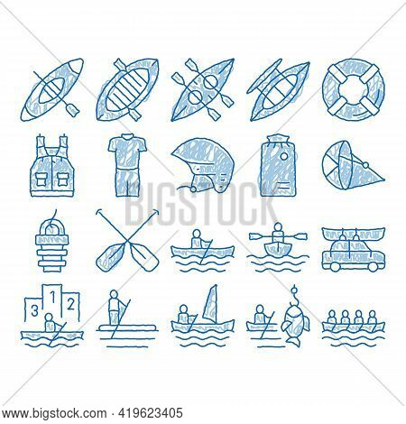 Canoeing Elements Sketch Icon Vector. Hand Drawn Blue Doodle Line Art Canoe Transportation On Car An