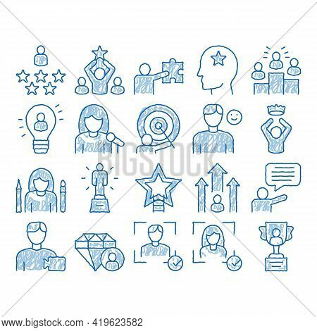 Human Talent Elements Sketch Icon Vector. Hand Drawn Blue Doodle Line Art Idea And Target, Diamond A
