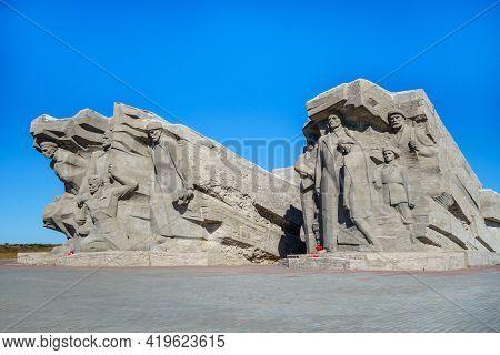 Kerch, Crimea - 28 June 2021: Entrance To Adzhimushkai Mines, The Memorial Site Of Wwii, Kerch, Crim