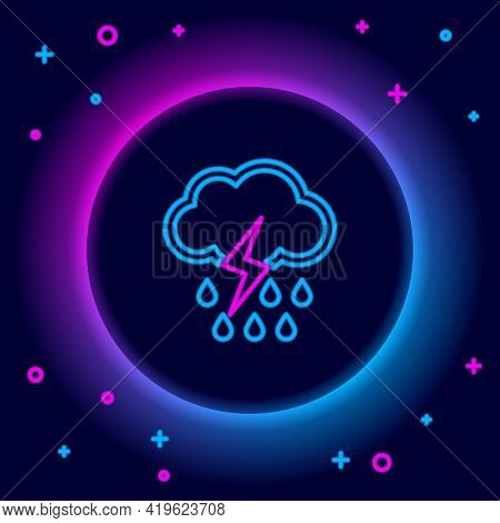 Glowing Neon Line Cloud With Rain And Lightning Icon Isolated On Black Background. Rain Cloud Precip