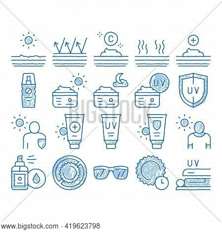 Sunscreen Elements Sketch Icon Vector. Hand Drawn Blue Doodle Line Art Sun Lotion And Medical Cream,