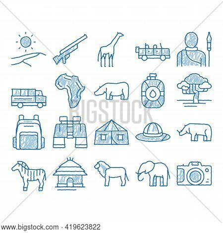 Safari Travel Elements Sketch Icon Vector. Hand Drawn Blue Doodle Line Art Animal And Africa, Car An