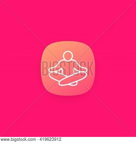 Meditation, Meditating Man Line Icon For App