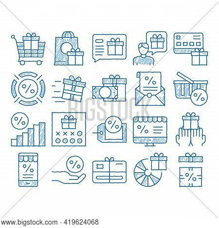 Loyalty Program For Customer Sketch Icon Vector. Hand Drawn Blue Doodle Line Art Human Silhouette An