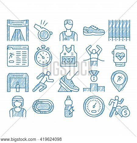 Marathon Elements Sketch Icon Vector. Hand Drawn Blue Doodle Line Art Human Athlete Silhouette Runni