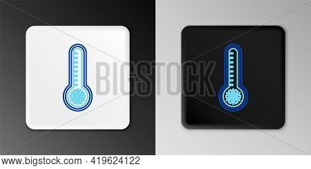Line Meteorology Thermometer Measuring Heat And Cold Icon Isolated On Grey Background. Thermometer E