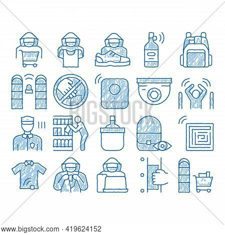 Shoplifting Elements Sketch Icon Vector. Hand Drawn Blue Doodle Line Art Video Camera And Guard Secu