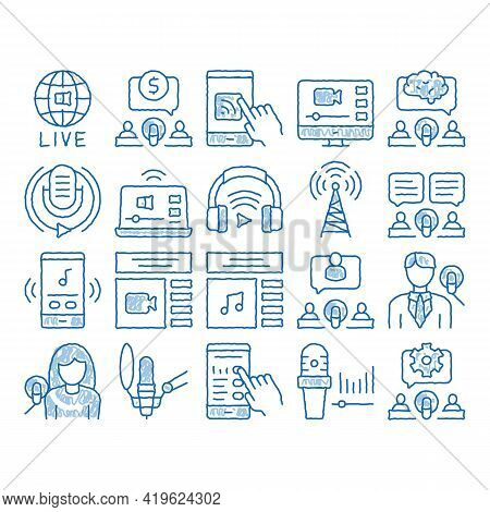 Podcast And Radio Sketch Icon Vector. Hand Drawn Blue Doodle Line Art Internet Global Live Broadcast
