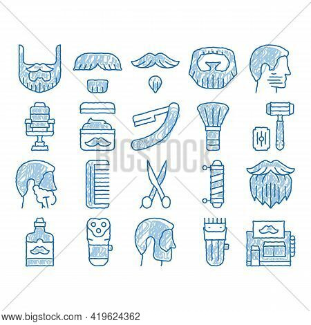 Beard And Mustache Sketch Icon Vector. Hand Drawn Blue Doodle Line Art Man Silhouette Shave Beard By