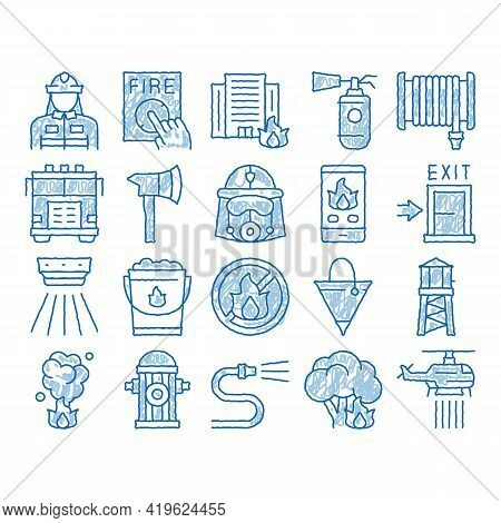 Firefighter Equipment Sketch Icon Vector. Hand Drawn Blue Doodle Line Art Firefighter Man Silhouette