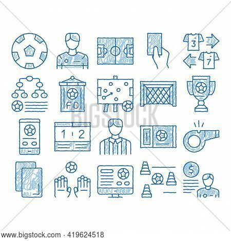 Soccer Football Game Sketch Icon Vector. Hand Drawn Blue Doodle Line Art Soccer Playing Ball, Player