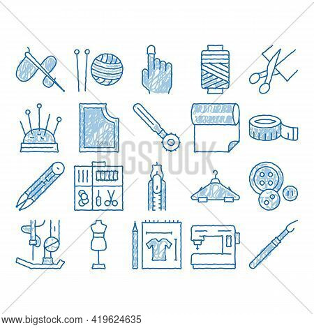 Sewing And Needlework Sketch Icon Vector. Hand Drawn Blue Doodle Line Art Sewing Needle And Measure,