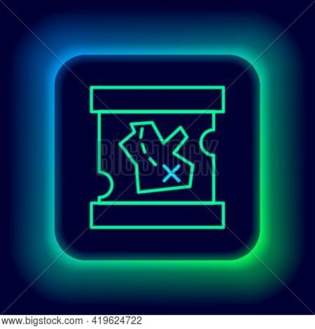 Glowing Neon Line Pirate Treasure Map Icon Isolated On Black Background. Colorful Outline Concept. V