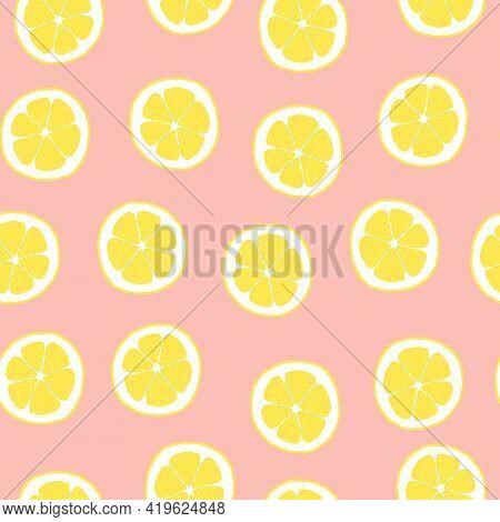 Pink Lemon Pattern. Citrus Vector Seamless Background. Hand Drawn Citric Fruit Slice Illustration.