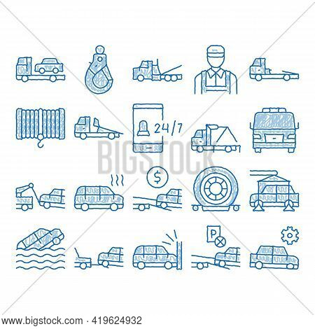 Tow Truck Transport Sketch Icon Vector. Hand Drawn Blue Doodle Line Art Tow Truck Evacuating And Tra