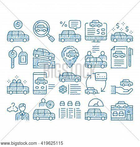 Car Dealership Shop Sketch Icon Vector. Hand Drawn Blue Doodle Line Art Car Dealership Agreement And