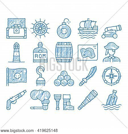 Pirate Sea Bandit Tool Sketch Icon Vector. Hand Drawn Blue Doodle Line Art Pirate Saber And Spyglass