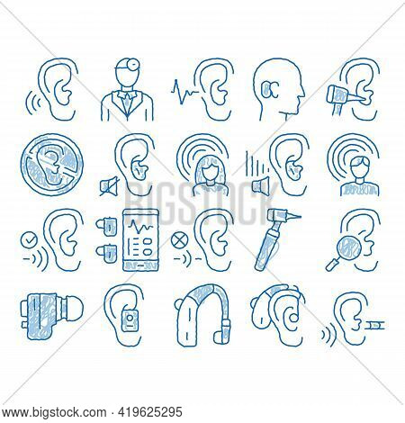 Hearing Human Sense Sketch Icon Vector. Hand Drawn Blue Doodle Line Art Hearing Aid Device And Earph