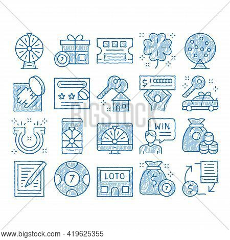 Lottery Gambling Game Sketch Icon Vector. Hand Drawn Blue Doodle Line Art Human Win Lottery And Hold