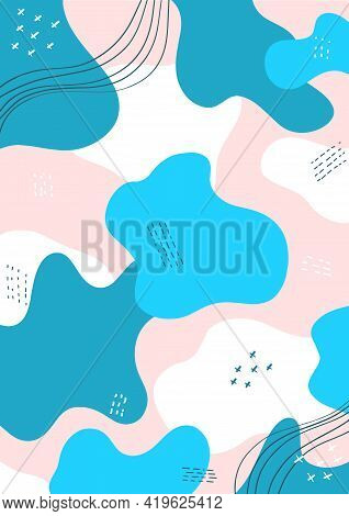 Blue White Template With Dynamic Abstract Forms, Composition For Social Media, Mobile Apps Or Banner