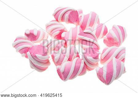 Marshmallows Pink Confection Isolated On White Background