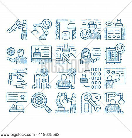 Robotics Master Sketch Icon Vector. Hand Drawn Blue Doodle Line Art Human Worker With Drone And Robo