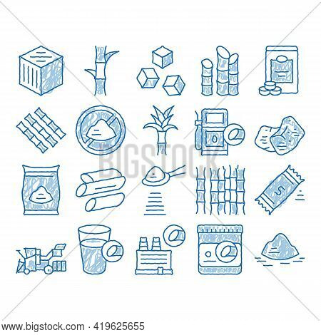 Sugar Cane Agriculture Sketch Icon Vector. Hand Drawn Blue Doodle Line Art Sugar Cubes And Package,