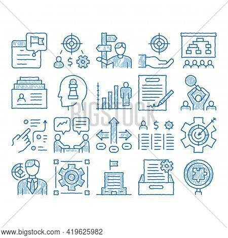 Strategy Manager Job Sketch Icon Vector. Hand Drawn Blue Doodle Line Art Contract Signing And Custom
