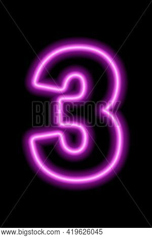 Neon Pink Number 3 On Black Background. Learning Numbers, Serial Number, Price, Place. Vector Illust