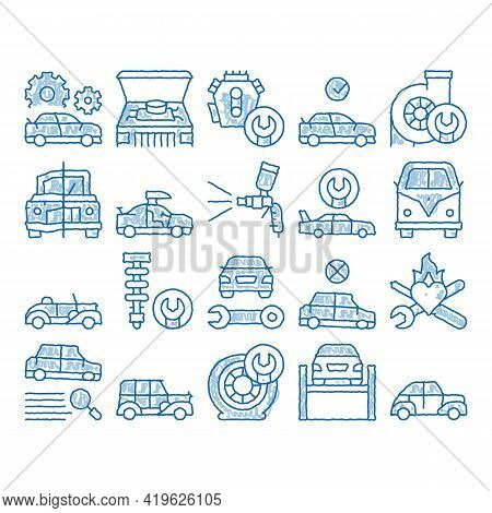 Car Restoration Repair Sketch Icon Vector. Hand Drawn Blue Doodle Line Art Classic And Crashed Car R