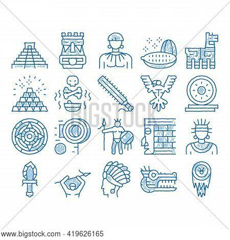 Aztec Civilization Sketch Icon Vector. Hand Drawn Blue Doodle Line Art Aztec Antique Pyramid And Gol
