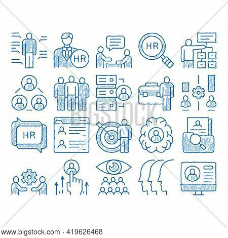 Hr Human Resources Sketch Icon Vector. Hand Drawn Blue Doodle Line Art Hr Management And Research, S