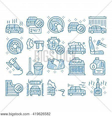 Car Wash Auto Service Sketch Icon Vector. Hand Drawn Blue Doodle Line Art Automatical Car Wash Build