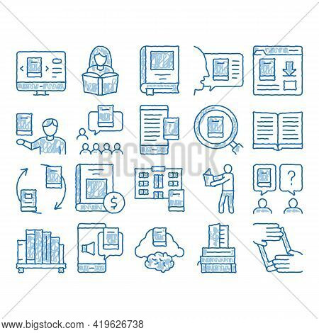 Reading Library Book Sketch Icon Vector. Hand Drawn Blue Doodle Line Art Reading And Learning, Smart
