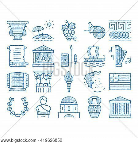 Greece Country History Sketch Icon Vector. Hand Drawn Blue Doodle Line Art Greece Flag And Antique A